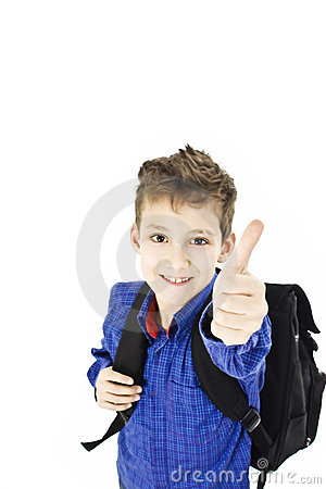 Schoolboy showing OK sign