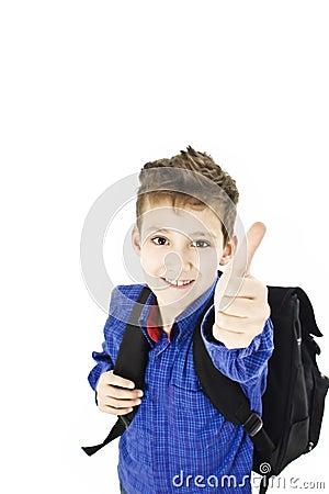 Schoolboy showing OK sign