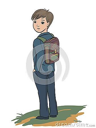 Schoolboy standing