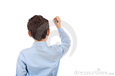 Schoolboy writing on an imaginary board