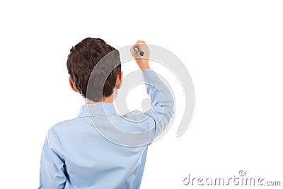 Schoolboy writing on an imaginary board