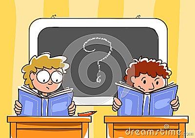 Schoolboys in truble and blackboard