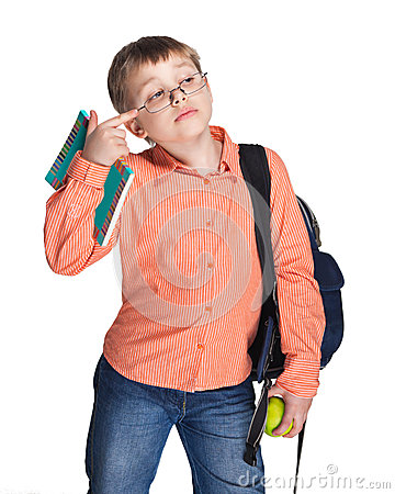 Schoolchild in glasses with apple