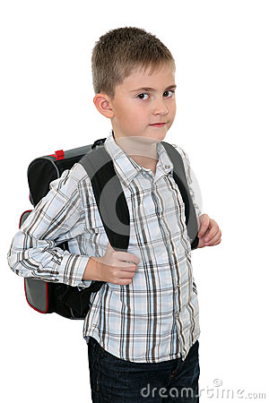 Schoolchild with a schoolbag on shoulders