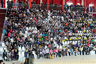 Schoolchildren fans Editorial Stock Photo