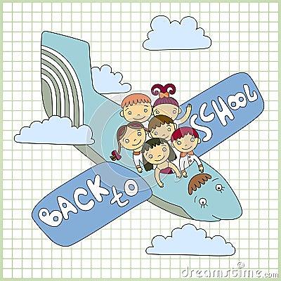 Schoolchildren fly in an airplane