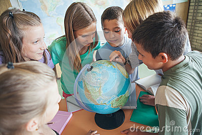Schoolchildren in a Geography Lesson