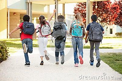 Schoolchildren at home time