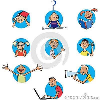 Schoolchildren icons