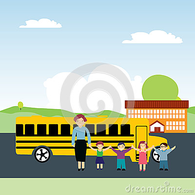 Schoolchildren and school bus