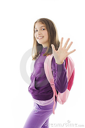 Schoolgirl with backpack, gesturing and greeting