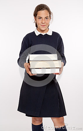 Schoolgirl with big books