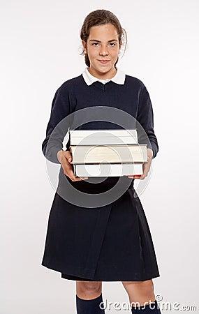 Schoolgirl with big books