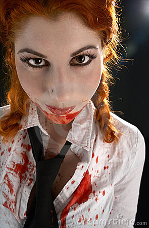 Schoolgirl with blood all over
