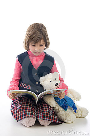 Schoolgirl with book and Teddy Bear