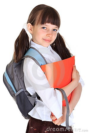 Schoolgirl with books and bag