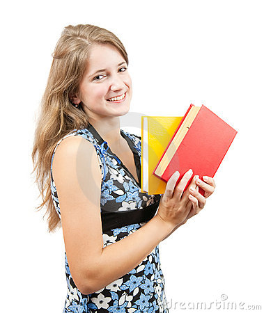 Schoolgirl with books over white