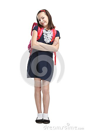Schoolgirl with the briefcase with crossed arms