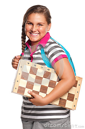 Schoolgirl with chessboard