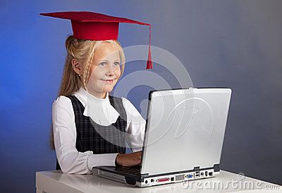 Schoolgirl at the computer