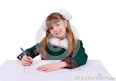 Schoolgirl doing her homework.