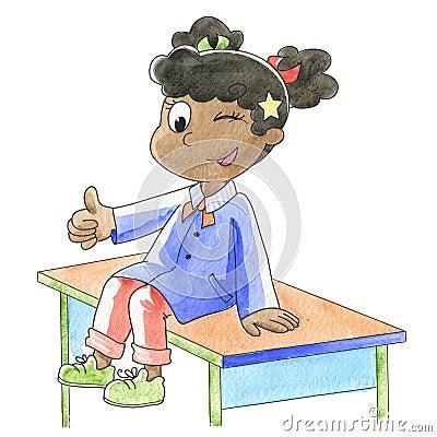 Ok! Schoolgirl with finger up
