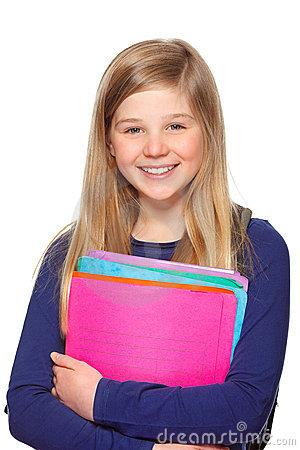 Schoolgirl with folder smiling