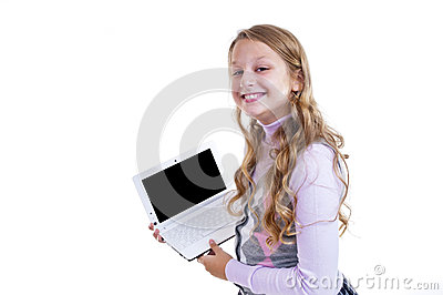 Schoolgirl with her netbook
