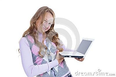 Schoolgirl with her netbook