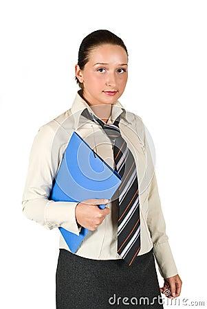 Schoolgirl holding a folder