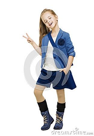 Free Schoolgirl In Uniform Showing Victory Sign. Student School Girl Stock Images - 43330274