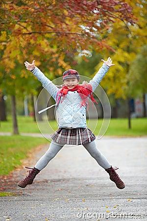 Schoolgirl jumping