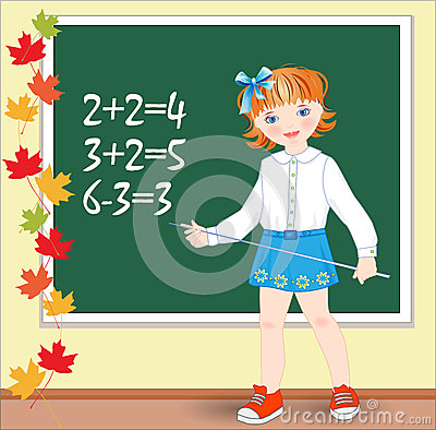 Schoolgirl on the lesson of mathematics.
