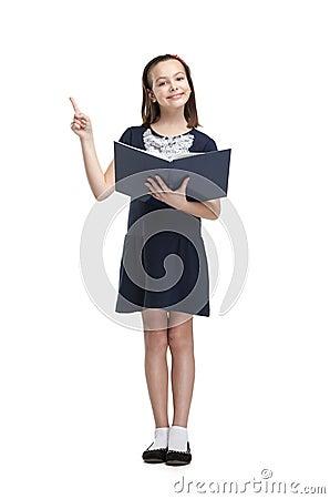 Schoolgirl with opened book