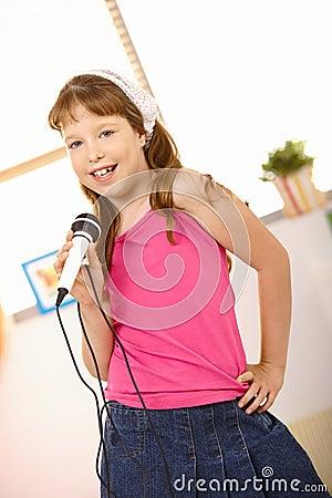 Schoolgirl performing song