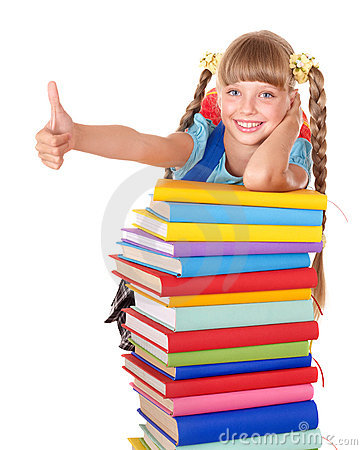 Schoolgirl with pile of books showing thumb up.