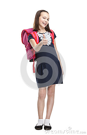 Schoolgirl with pink briefcase