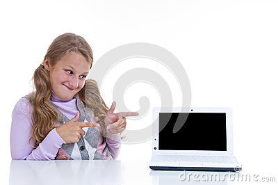 Schoolgirl pointing on her netbook
