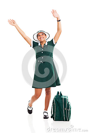 Schoolgirl raising hands