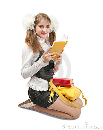 Schoolgirl reading a book
