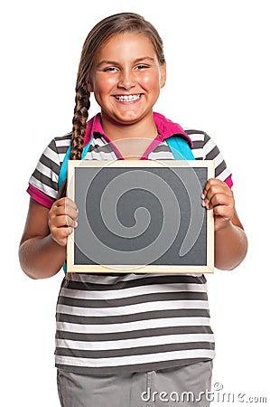 Schoolgirl with small blackboard