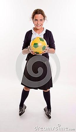 Schoolgirl and soccer
