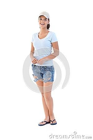 Schoolgirl at summertime smiling