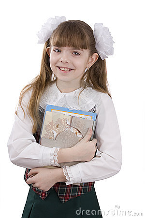 Schoolgirl with textbook.