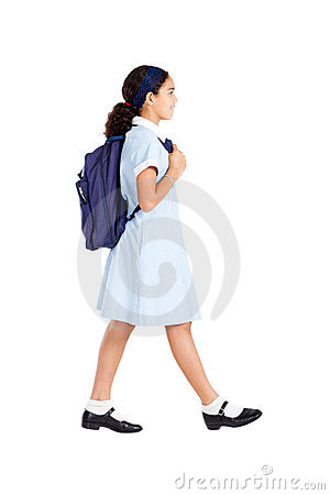 Schoolgirl walking
