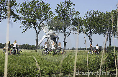 Schoolgirls on a bike in the Netherlands Editorial Photography