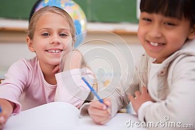 Schoolgirls doing classwork