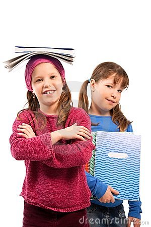 Schoolgirls with exercise books