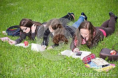 Schoolgirls learning