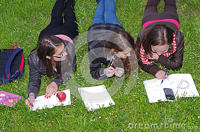 Schoolgirls learning